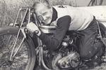 Burt Munro on his 1920 Indian Scout